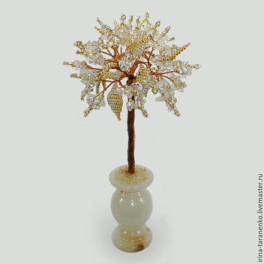 Дерево из горного хрусталя в вазочке из оникса `Волшебство`
