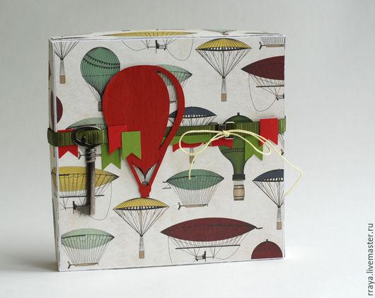 """Открытки для мужчин, ручной работы. Ярмарка Мастеров - ручная работа. Купить Открытка в коробке """"Аэростаты"""". Handmade. Ярко-красный, дирижабли"""