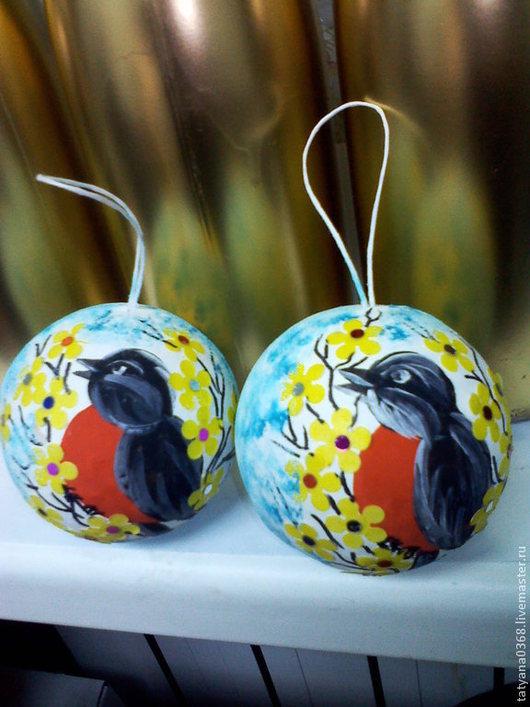 Новый год 2017 ручной работы. Ярмарка Мастеров - ручная работа. Купить шар папье. Handmade. Ярко-красный, птицы