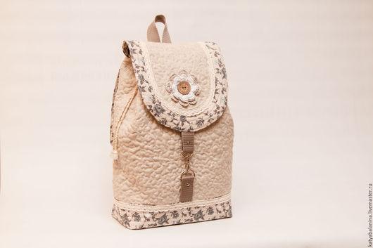 Рюкзаки ручной работы. Ярмарка Мастеров - ручная работа. Купить Льняной стеганый рюкзак Льняное лето. Handmade. Белый