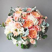Свадебные букеты ручной работы. Ярмарка Мастеров - ручная работа Букет невесты Кораллово-серебристый. Handmade.