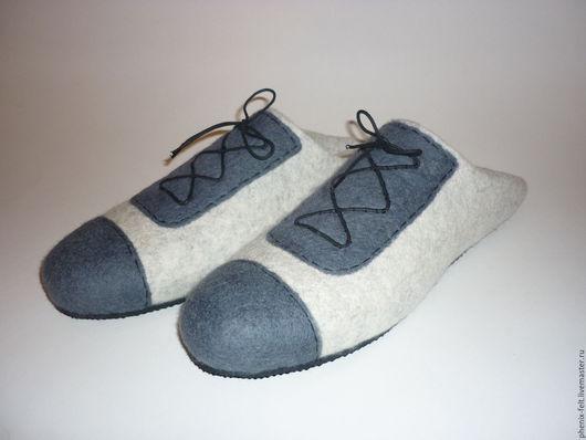 """Обувь ручной работы. Ярмарка Мастеров - ручная работа. Купить Тапочки валяные мужские """"Английский стиль"""". Handmade. Серый"""