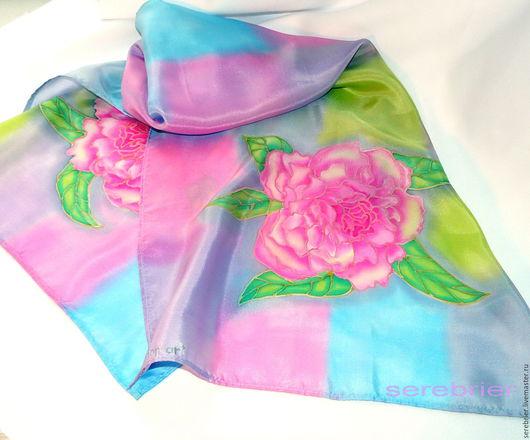 Шелковый шарф с росписью батик `Пион`   Не линяет и не боится влаги. Натуральный шелковый фуляр. В одном экземпляре. Готовое изделие.