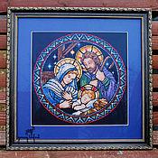 """Картины и панно ручной работы. Ярмарка Мастеров - ручная работа Картина вышивка крестом """"Святое семейство"""". Handmade."""