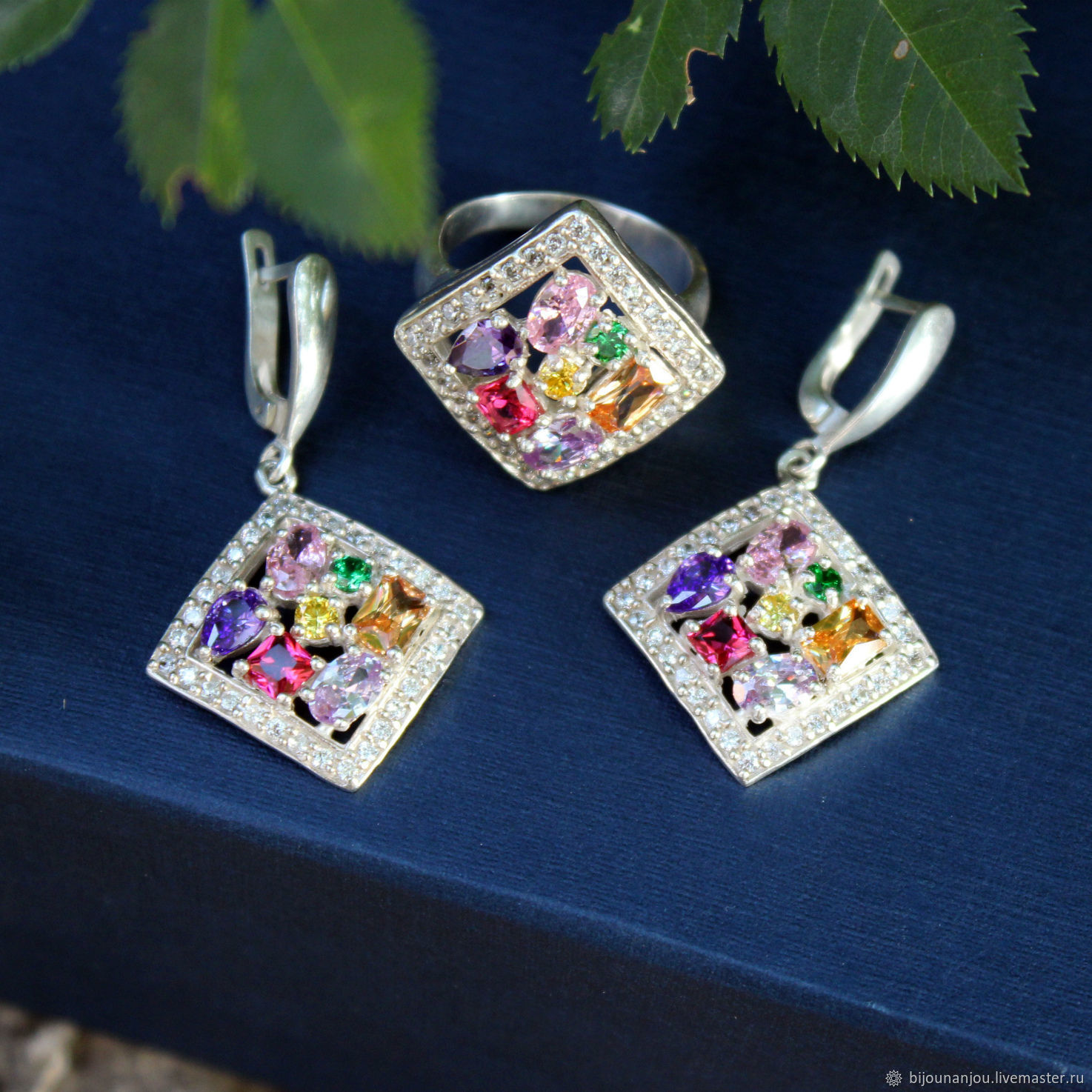Earrings and ring Rainbow Dew 925 sterling silver and zircon, Jewelry Sets, Yerevan,  Фото №1