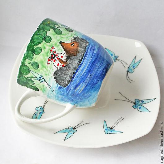 """Сервизы, чайные пары ручной работы. Ярмарка Мастеров - ручная работа. Купить Чайная пара """"Ежик в реке"""" (0805). Handmade."""