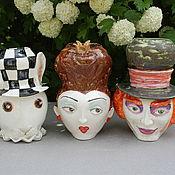 Для дома и интерьера handmade. Livemaster - original item Queen, Hatter, Rabbit. Sculptural vases.. Handmade.