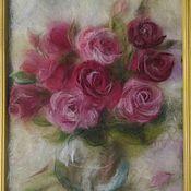 """Картины и панно ручной работы. Ярмарка Мастеров - ручная работа Картина из шерсти """"Аромат роз"""". Handmade."""