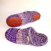 Обувь ручной работы handmade. Livemaster - original item Slippers-chuni, p. .41, purple, half-hair. Handmade.