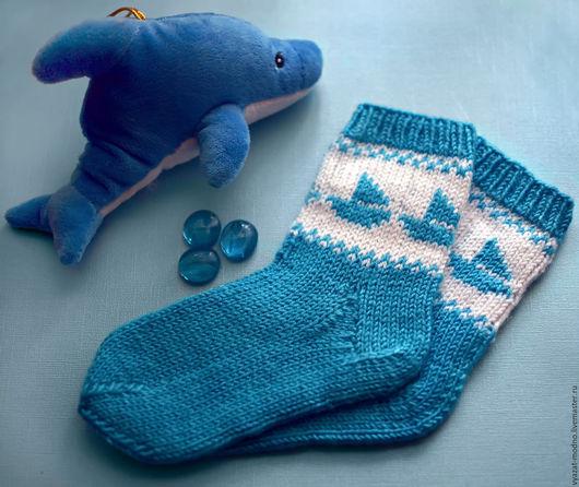 Носки, гольфы, гетры ручной работы. Ярмарка Мастеров - ручная работа. Купить Детские носки с корабликами. Handmade. Разноцветный