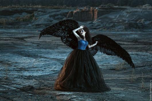 Готика ручной работы. Ярмарка Мастеров - ручная работа. Купить Крылья ангела/птицы черные из натуральных перьев. Handmade. Черный, готический
