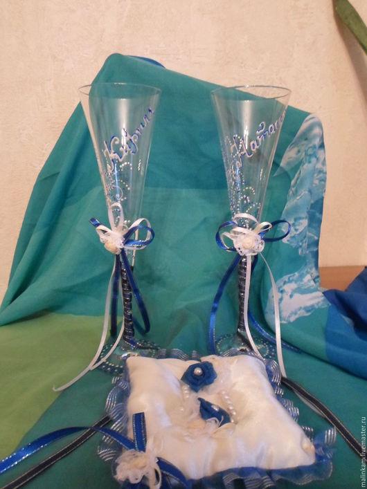 Бокалы, стаканы ручной работы. Ярмарка Мастеров - ручная работа. Купить Свадебные бокалы. Handmade. Тёмно-синий, фужеры на свадьбу