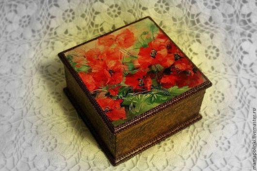 """Шкатулки ручной работы. Ярмарка Мастеров - ручная работа. Купить Шкатулка """"Маки"""". Handmade. Ярко-красный, маки, цветы, с маками"""