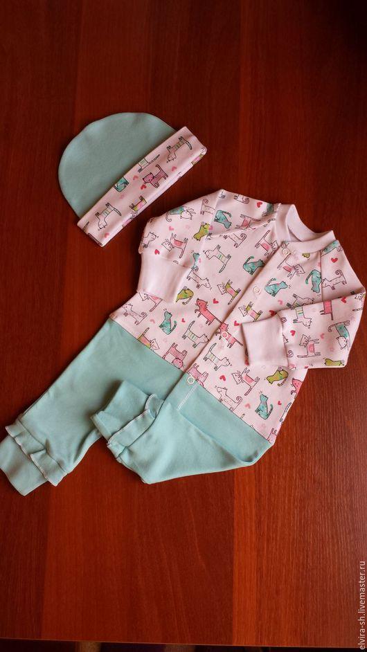 Одежда для девочек, ручной работы. Ярмарка Мастеров - ручная работа. Купить Комбинезон для девочки. Handmade. Комбинированный, шапочка