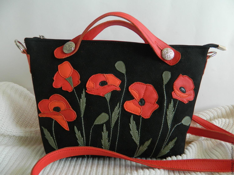 Bag ladies genuine leather. Crossbody bag.Poppies red-black, Crossbody bag, Krasnodar,  Фото №1