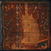 Картины и панно handmade. Livemaster - original item Unicorn. Panels on an aged Board.Wooden panel.. Handmade.