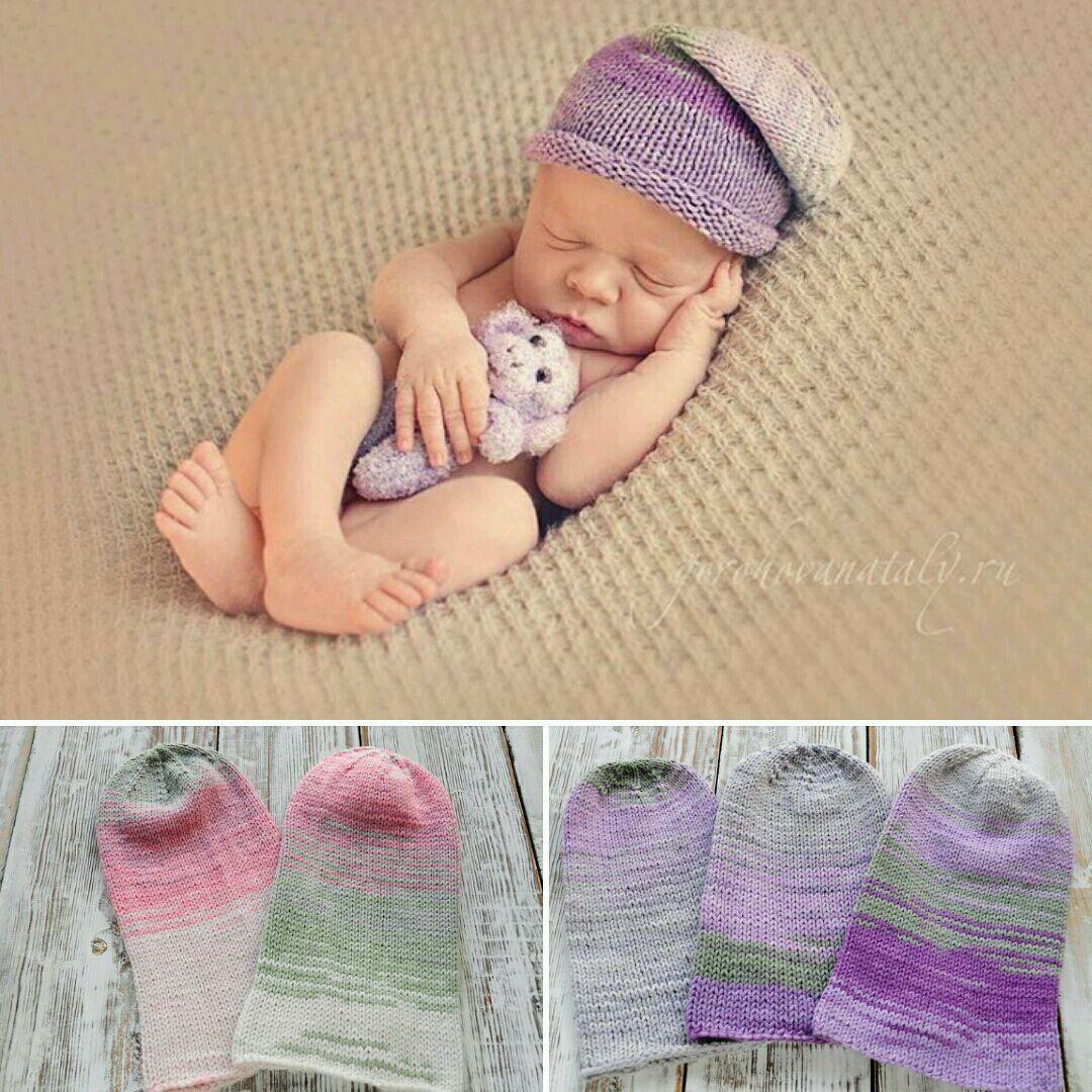 вязаная шапка носок для фотосессии новорожденных купить в интернет