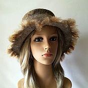 Аксессуары handmade. Livemaster - original item Felted beige hat made of alpaca and merino wool, size 58-59. Handmade.
