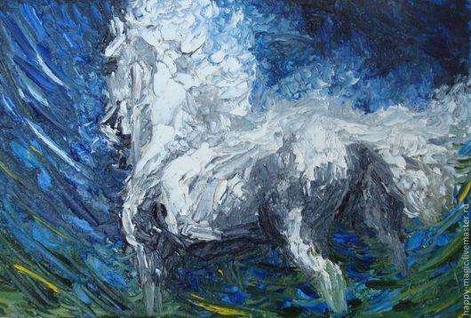 """Животные ручной работы. Ярмарка Мастеров - ручная работа. Купить Картина маслом """"Белый ветер"""". Handmade. Белый, картина в подарок"""