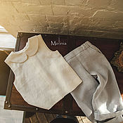 Работы для детей, handmade. Livemaster - original item Accessories for the photoshoot: Top of the Linen suit. Handmade.