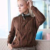 Одежда handmade. Livemaster - original item Jerseys: Women`s knitted sweater with Merino braids in chocolate color. Handmade.