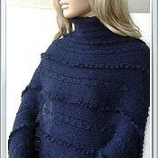 Одежда ручной работы. Ярмарка Мастеров - ручная работа Пончо темно- синее. Handmade.
