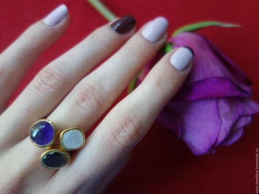 """Кольца ручной работы. Ярмарка Мастеров - ручная работа. Купить """"Аристарке""""-модное кольцо с аметистом, раухтопазом и лунным камнем. Handmade."""