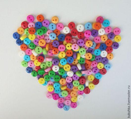 Куклы и игрушки ручной работы. Ярмарка Мастеров - ручная работа. Купить Мини пуговица 6 мм. Handmade. Разноцветный