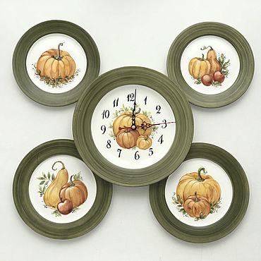 Посуда ручной работы. Ярмарка Мастеров - ручная работа Тарелки: Тарелки на стену и часы Тыквы. Handmade.