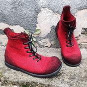 Обувь ручной работы. Ярмарка Мастеров - ручная работа Валяные мужские ботинки Бордовые. Handmade.