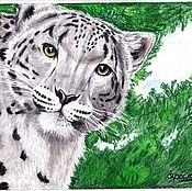 Картины и панно handmade. Livemaster - original item The sight of the snow leopard( Snow leopard). Handmade.