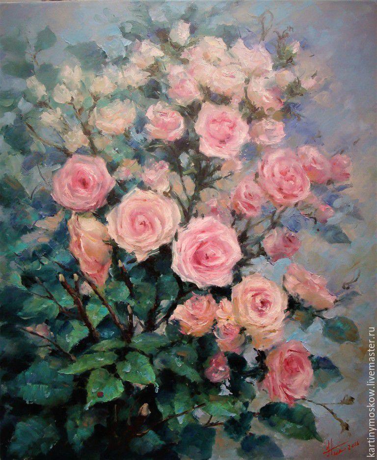 Купить картину маслом розы форум подарок женщине