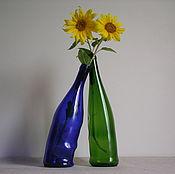 """Бутылки ручной работы. Ярмарка Мастеров - ручная работа Плавленные бутылки """"Сплетение чувств"""". Handmade."""