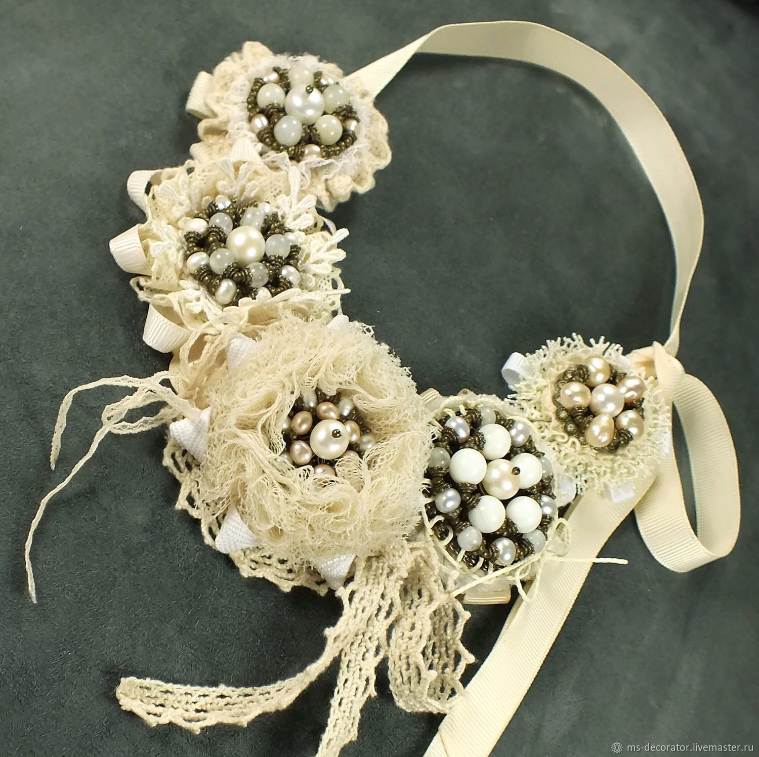 Necklace, leather, textile, pearls, vanilla Pearls, Necklace, St. Petersburg,  Фото №1