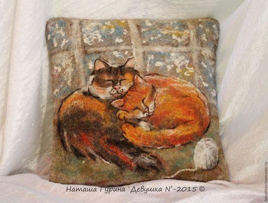 """Текстиль, ковры ручной работы. Ярмарка Мастеров - ручная работа. Купить Интерьерная подушка """"Мурзики"""". Handmade. Кот, подушка"""