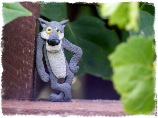 """Броши ручной работы. Ярмарка Мастеров - ручная работа. Купить Брошь """"Волк"""". Handmade. Комбинированный, волк из мультфильма, волчонок"""