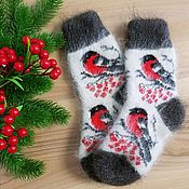 Одежда детская handmade. Livemaster - original item BULLFINCHES Children`s knitted socks Down socks BULLFINCHES warm socks. Handmade.