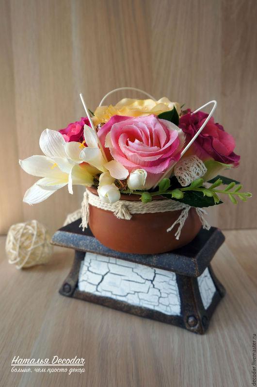 """Интерьерные композиции ручной работы. Ярмарка Мастеров - ручная работа. Купить Композиция """"Розы в дымке"""". Handmade. Композиция для интерьера, розовый"""