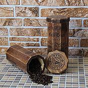 """Для дома и интерьера ручной работы. Ярмарка Мастеров - ручная работа Короб (набор)   для хранения  кофе или чая  """"Итальянский кофе"""". Handmade."""