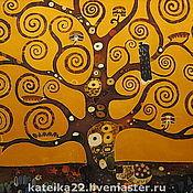 """Картины и панно ручной работы. Ярмарка Мастеров - ручная работа Батик картина """"Дерево Густава Климта"""". Handmade."""