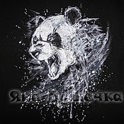 Одежда handmade. Livemaster - original item T-shirt  hand painted Panda. Handmade.