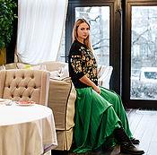 Одежда ручной работы. Ярмарка Мастеров - ручная работа Изумрудная юбка в пол. Handmade.