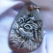Украшения handmade. Livemaster - original item Pendant with painted stone cat Scientist Lacquer miniature gray blue. Handmade.