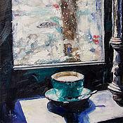 Картины и панно ручной работы. Ярмарка Мастеров - ручная работа В кафе. Handmade.