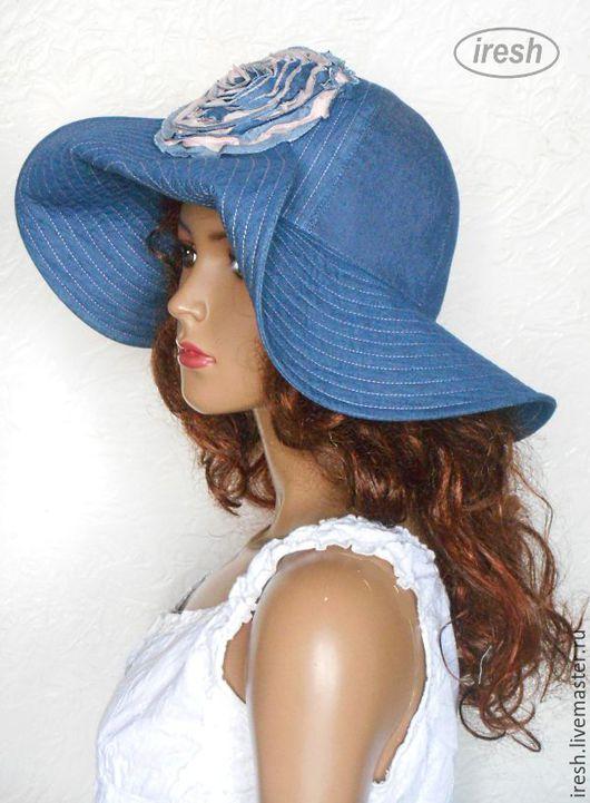 """Шляпы ручной работы. Ярмарка Мастеров - ручная работа. Купить Шляпа """"Джинсовая роза"""" синяя, голубая, женская. летняя. Handmade."""