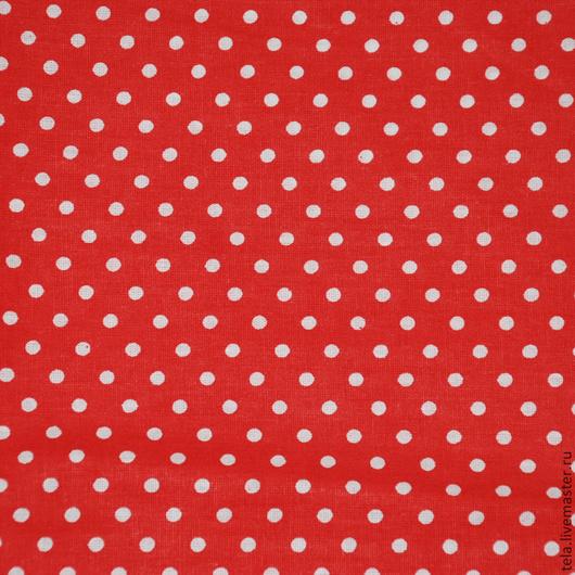Белый мелкий горох на красном фоне.  Хлопок 100%. Ткань для шитья, рукоделия.  Есть в наличии.