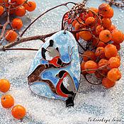"""Украшения ручной работы. Ярмарка Мастеров - ручная работа Кулон """"Снегири"""" птицы зима. Handmade."""