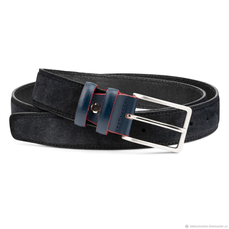Black Suede belt men's belts Blue belt buckle Italian leather, Straps, Riga,  Фото №1