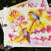 Картины и панно handmade. Livemaster - original item Amber bird - painting with watercolors. Handmade.
