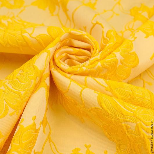 Шитье ручной работы. Ярмарка Мастеров - ручная работа. Купить Жаккард  вискозный ЖЕЛТЫЕ РОЗЫ. Handmade. Ткани Италии, лимонный